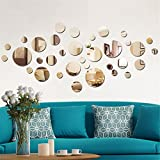 #8: aooyaoo Solid circle wall stickers Circle Mirror DIY Living room/bedroom/decoration 28pcs