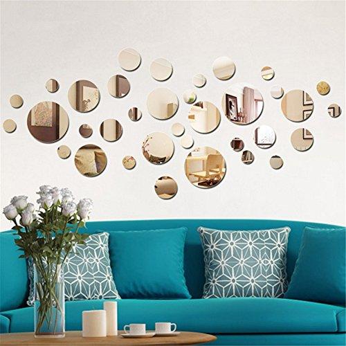 aooyaoo Solid circle wall stickers Circle Mirror DIY Living room/bedroom/decoration 28pcs
