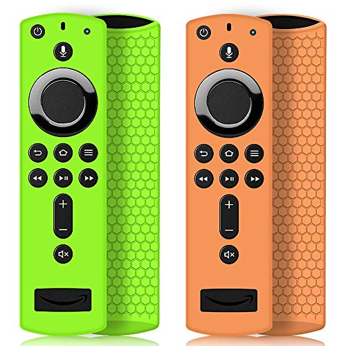 2 Pack Remote Case/Cover for Fire TV Stick 4K,Protective Silicone Holder Lightweight Anti Slip Shockproof for Fire TV Cube/3rd Gen Compatible All-New 2nd Gen Alexa Voice Remote Control-Green,Orange