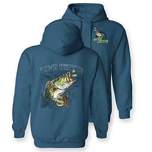 Follow the Action Largemouth Bass Hawg Hunter Fishing Hooded Sweatshirt (Medium)