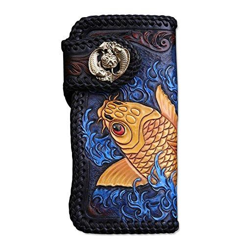[龍紋鬼] 和柄財布 完全オリジナル手作り 牛革 レーザーウオレット 長財布 B01MS5FYXR 金魚- ボタン 金魚- ボタン
