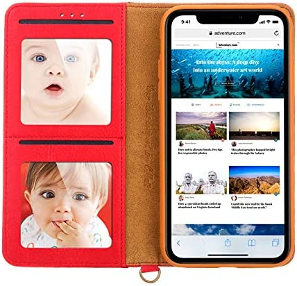 elecfan Case for iPhone 11 Pro,All-Round Protective Cover Smart Stand Case with Card Slot Protector Cover PU Leather Cover for Women Men Lightweight Case for 2019 iPhone 11 Pro 5.8 inch-Red