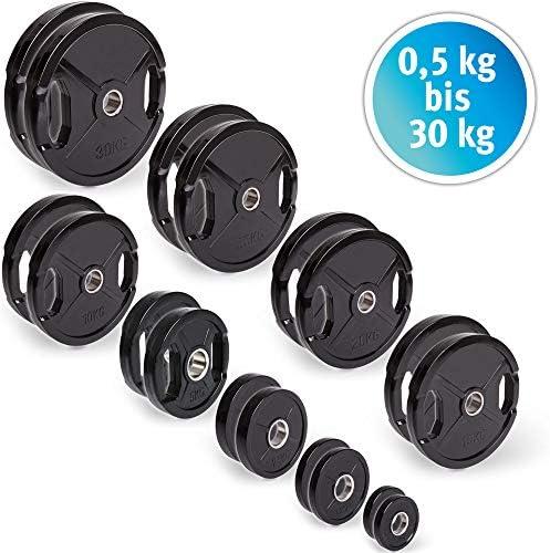 CP Sports - Discos de pesas con goma, 1 par de discos de 50 mm para barras, de 0,5 kg - 30 kg por par