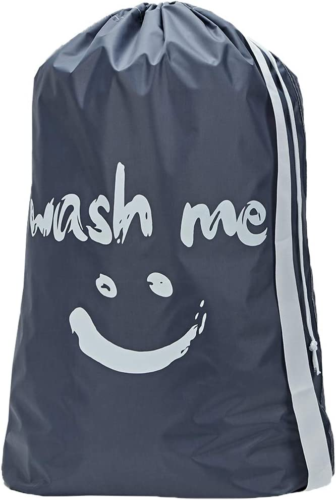 HOMEST Wash Me Travel Laundry Bag, 28 x 40 Inches Travel Dirty Clothes Shoulder Bag with Drawstring, Large Hamper Liner, Rip-Stop Nylon, Machine Washable, Grey, (Patent Pending)