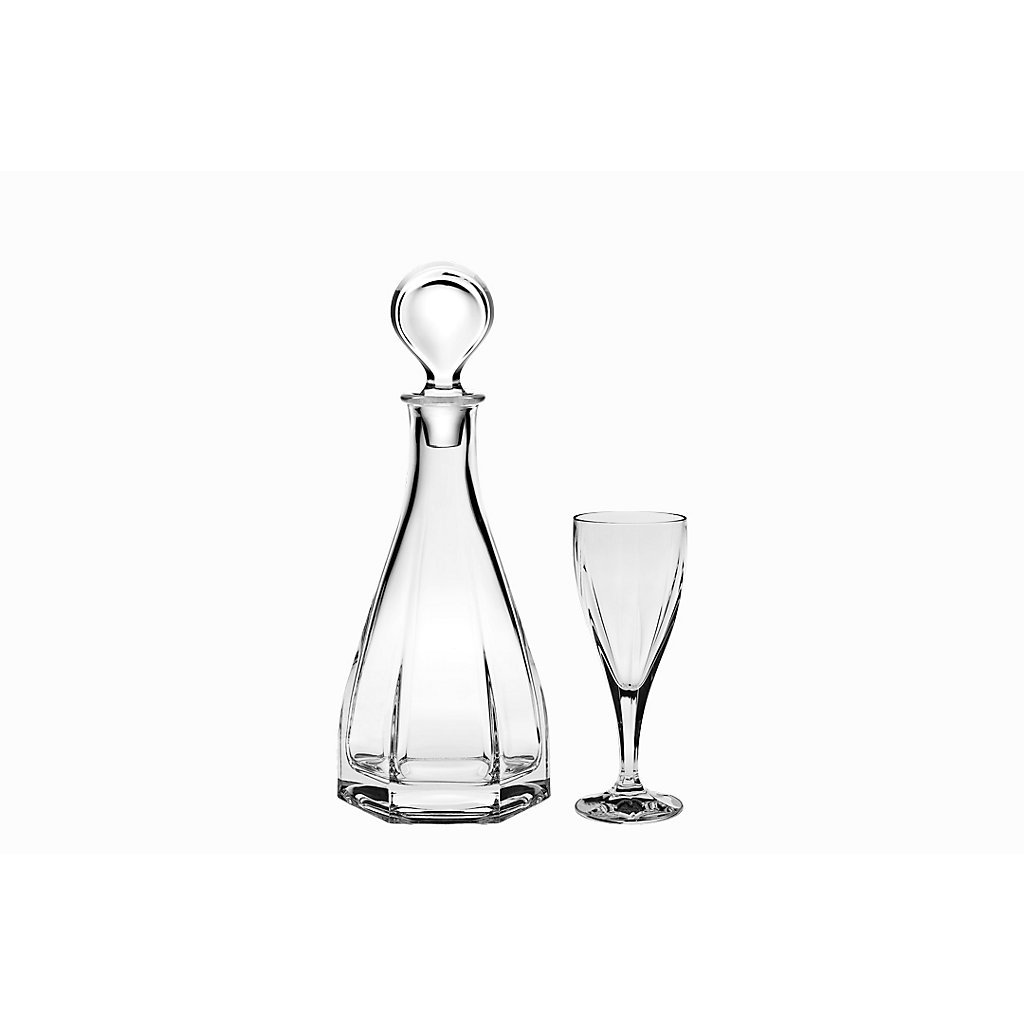 Set of 7 pieces, liqueur set ''IMPERIAL VICTORIA'' 6 liqueur glasses +1 decanter, lead crystal glass, modern style (GERMAN CRYSTAL powered by CRISTALICA)