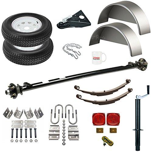 Utility Trailer Parts Kit 3500 lb, Single Idler Axle, 4' Wide, Model 1108 (Deluxe)