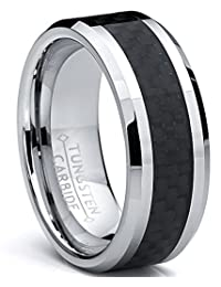 8MM Men's Tungsten Carbide Ring Wedding Band W/Carbon Fiber Inaly sizes 5 to 15