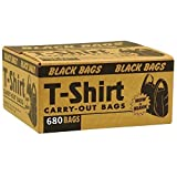 Box of 680 Count Black Medium Plastic T-shirt Poly Bags ''Thank you'' 18 mic Durable for Retail Shopping