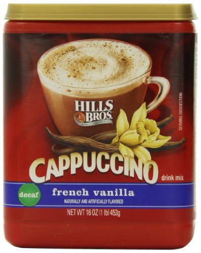 Hills Bros. Instant Cappuccino Mix, Decaf French Vanilla Cappuccino–Easy to Use, Enjoy Coffeehouse Flavor at Home-Decadent Cappuccino with Sweet Notes and No Caffeine (16 - Drink Cappuccino