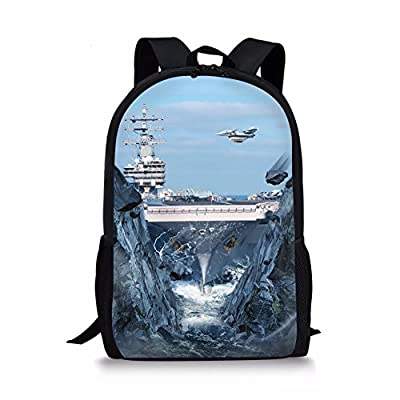 ThiKin Cool 3d Aircraft Carrier Personalized School Bag for Grades 3 - 5 Kids