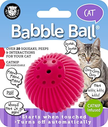 Pet Qwerks Cat Babble Ball with Catnip Infused, Interactive Cat Toy 2