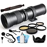 Opteka 420-800mm f/8.3 HD Telephoto Zoom Lens Bundle Package includes 5 Piece UV-CPL-FL-Macro 10x-ND4 Filters + Tulip Hood + Cap Keeper + Lens Pen + Cleaning Kit for Nikon 1 AW1, J1, J2, J3, J4, S1, S2, V1, V2, V3, 1AW1, 1J1, 1J2, 1J3, 1J4, 1S1, 1S2, 1V1, 1V2, 1V3 DSLR SLR Digital Camera
