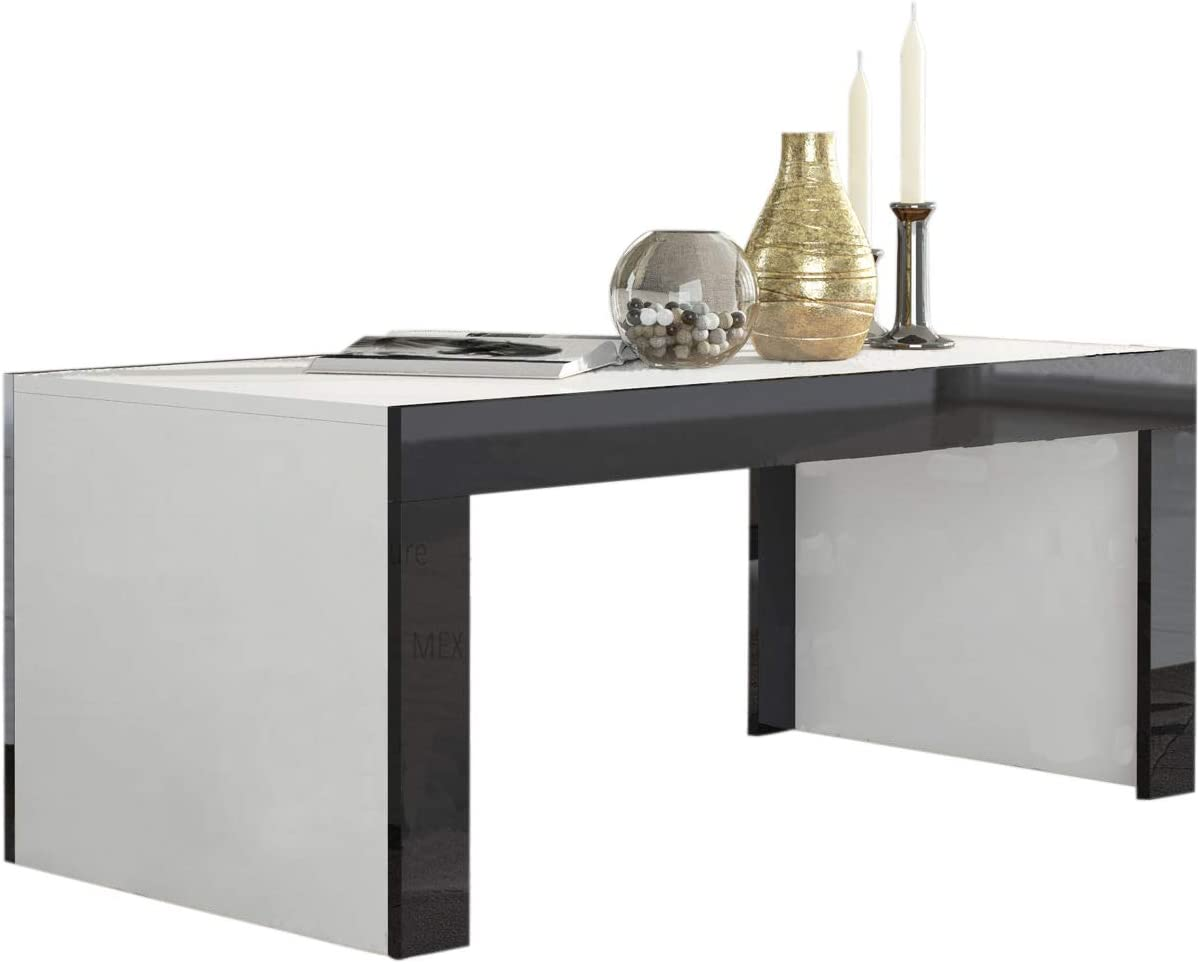Concept Muebles Milano Coffee Table White Matte Body in Contrast with High Gloss Finish of The laterals White Black