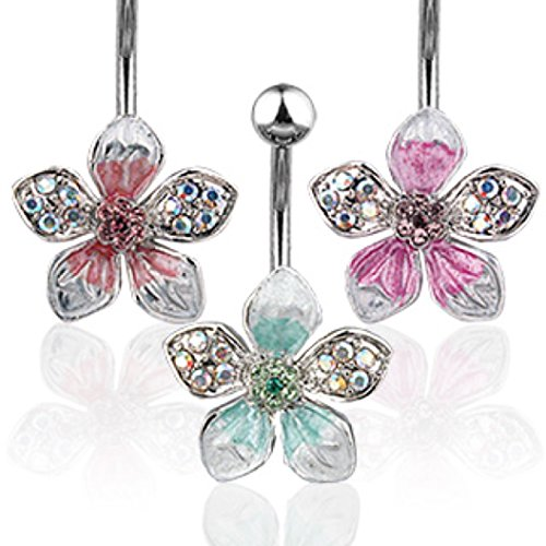 tropical flower belly ring - 6