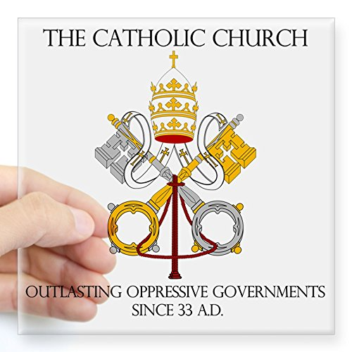 (CafePress The Catholic Church Square Sticker 3