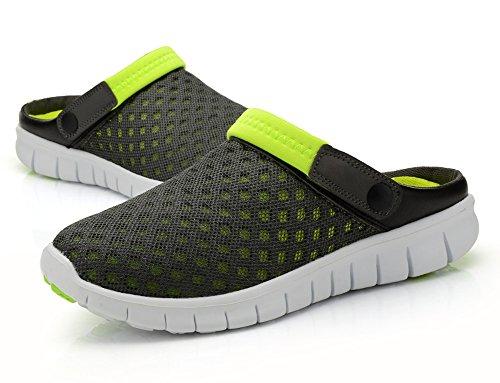 Ausom Hommes Femmes Été Respirant Maille Net Tissu Chaussures Plage Aqua Sandales Sport Casual Anti-dérapant Pantoufles Gris