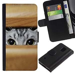 Planetar® Modelo colorido cuero carpeta tirón caso cubierta piel Holster Funda protección Para Samsung Galaxy S5 V SM-G900 ( Gato que mira a escondidas grises Ojos verdes Caza Juego )