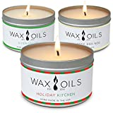 Wax and Oils Soy Wax Aromatherapy Scented Candles (Holiday Kitchen, Evergreen, Egg Nog) 8 Ounces. 3 Pack