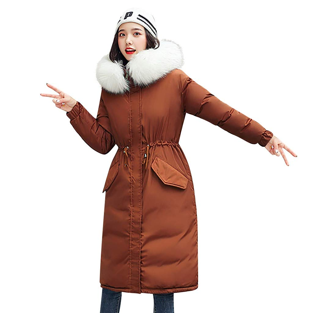 Fashionhe Outerwear Down Jacket Long Sleeve Overcoat Hooded Jackets Cotton-Padded Pockets Bandage Coats(Coffee.XL) by Fashionhe
