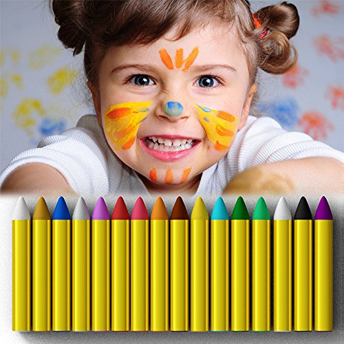 Doll Face Paint Costume (Crayons Face Painting Makeup Sticks Clown Makeup Non-Toxic Halloween Dress up for Baby by JamBer(16pack))