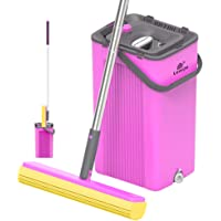LEARJA Sponge Mop, PVA Squeeze Mop and Bucket, 180°Degree Swivel Head, Hand-Free Wringing Floor Cleaning Mop, Wet or Dry…