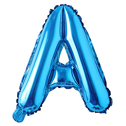 16 inch Single Blue Alphabet Letter Number Balloons Aluminum Hanging Foil Film Balloon Wedding Birthday Party Decoration Banner Air Mylar Balloons (16 inch Pure Blue A)