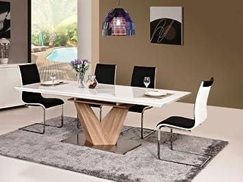 Säulentisch Holz hochglanz weiß esstisch alaras 90x160x75 ausziehbar auf 220cm