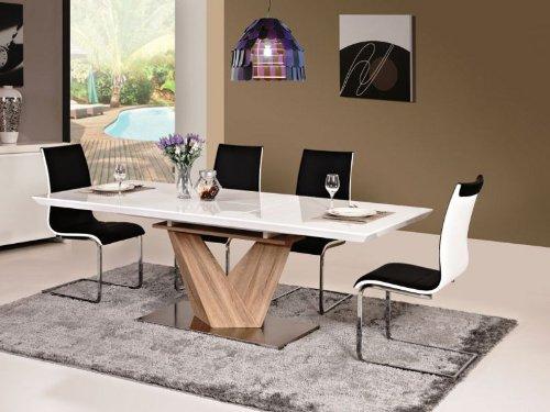 Jadella Alaras Tavolo Per Sala Da Pranzo Allungabile 90 X 160 220 X 75 Cm Con Supporto A Colonna In Legno Di Rovere Sonoma Colore Bianco Lucido Tavoli