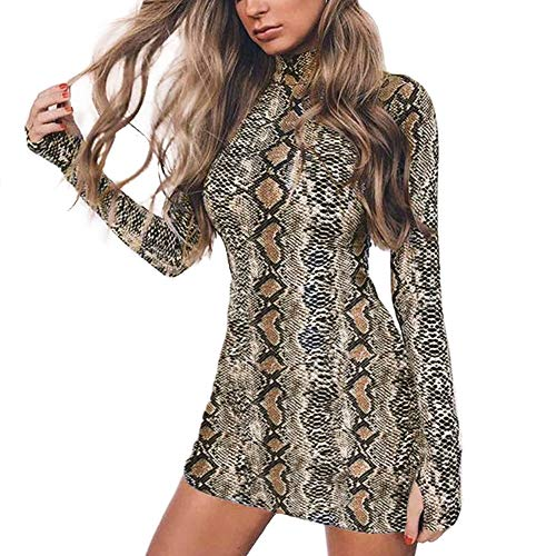Queen.M Women's Sexy Bodycon Dress Casual Club Party Slim Short Mini Dress (Snake Skin Print, L)