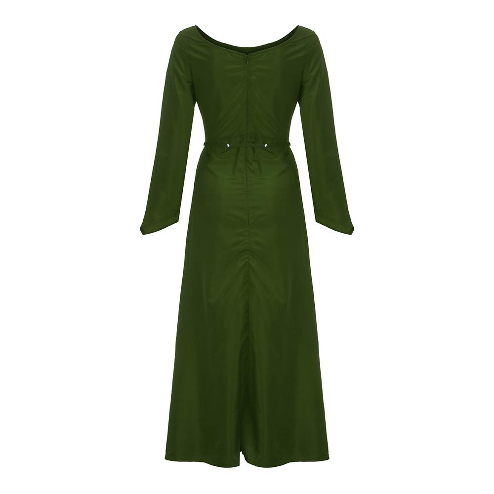 Fiaya Women\'s Plus Size Medieval Vintage Renaissance Long Sleeve Bandage  Floor Length Party Dress Gown