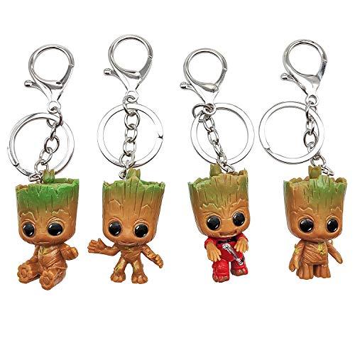 INHEMI Baby Groot Llavero (Conjunto de 4) - Figura de accion de la pelicula clasica - Perfecto como Regalo - I Am Groot
