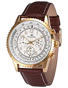 Ks Aviator Luxury Day Date 24Hours Automatic Mechanical Men's Brown Leather Wrist Watch KS161