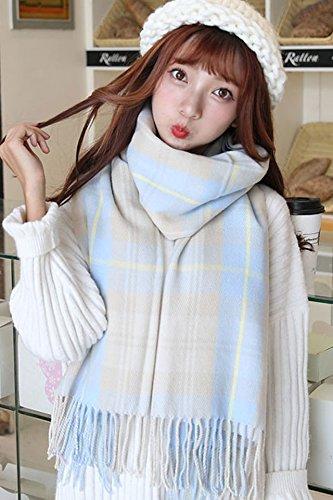 Generic Japanese schoolgirl Korean winter thick warm plaid scarf shawl fringed white blue College Wind