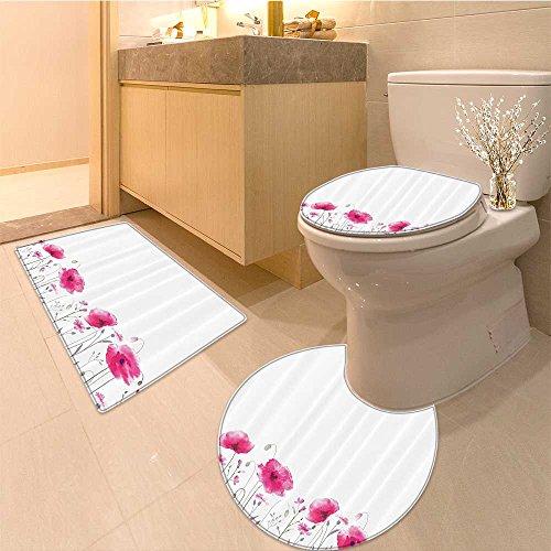 3 Piece Toilet mat set Mass of Glade with Petals Summer Garden Field Elements Artwork Fabric Set with Hooks Textures Non-Slip Bathroom Mats Contour Toilet Cover - Mass Petal Little