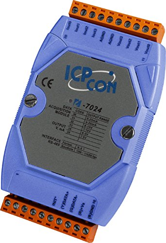 I-7024: 4 Channel 14-bit Analog Output Current Data Acquisition Module, Communicable over RS-485 by ICP DAS