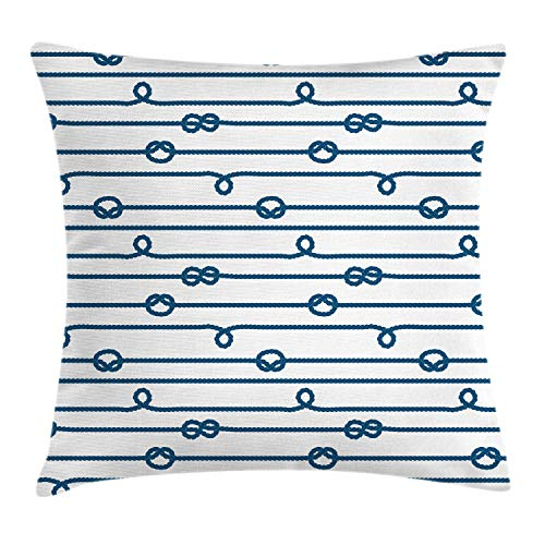 Ambesonne Navy Throw Pillow Cushion Cover, Ship Boat Sea Life Rope and Marine Nautical Knots as Border Lines Art Print, Decorative Square Accent Pillow Case, 24
