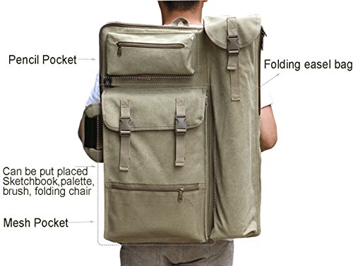 Fanchuang Canvas Art Portfolio Carry Backpack Case Bag for Drawing Sketching Painting,4K,25In x 18In,Military Style B