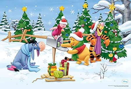 winnie the pooh merry christmas wall decoration poster print pooh
