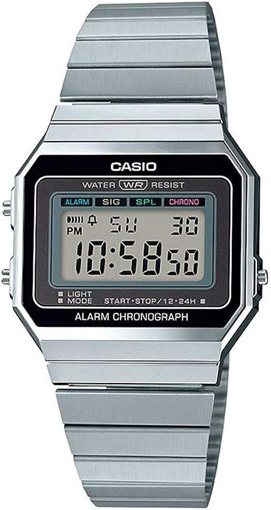 Casio Reloj Mujer de Digital con Correa en Acero Inoxidable A700WE-1AEF