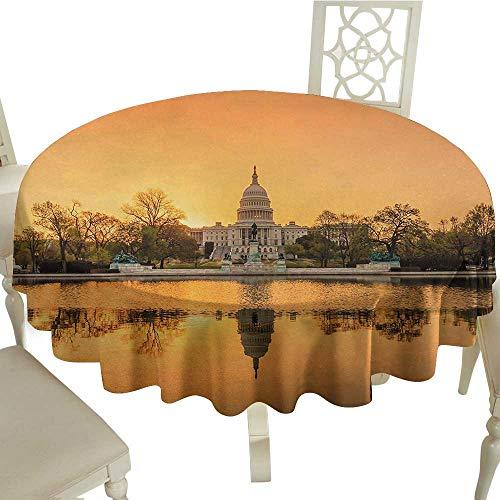 longbuyer Round Tablecloth Black United States,Washington DC American