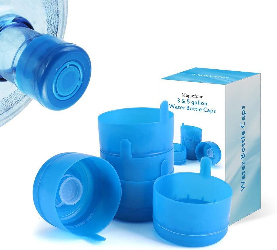 Magicfour Water Jug Caps, Water Bottle Caps, 5 Pack 55mm 3 & 5 Gallon Water Bottle Caps Water Jug Caps Non-Spill Replacement Caps Water Bottle Lids Water Bottle Snap On Cap for 3 & 5 Gallon Water Jug
