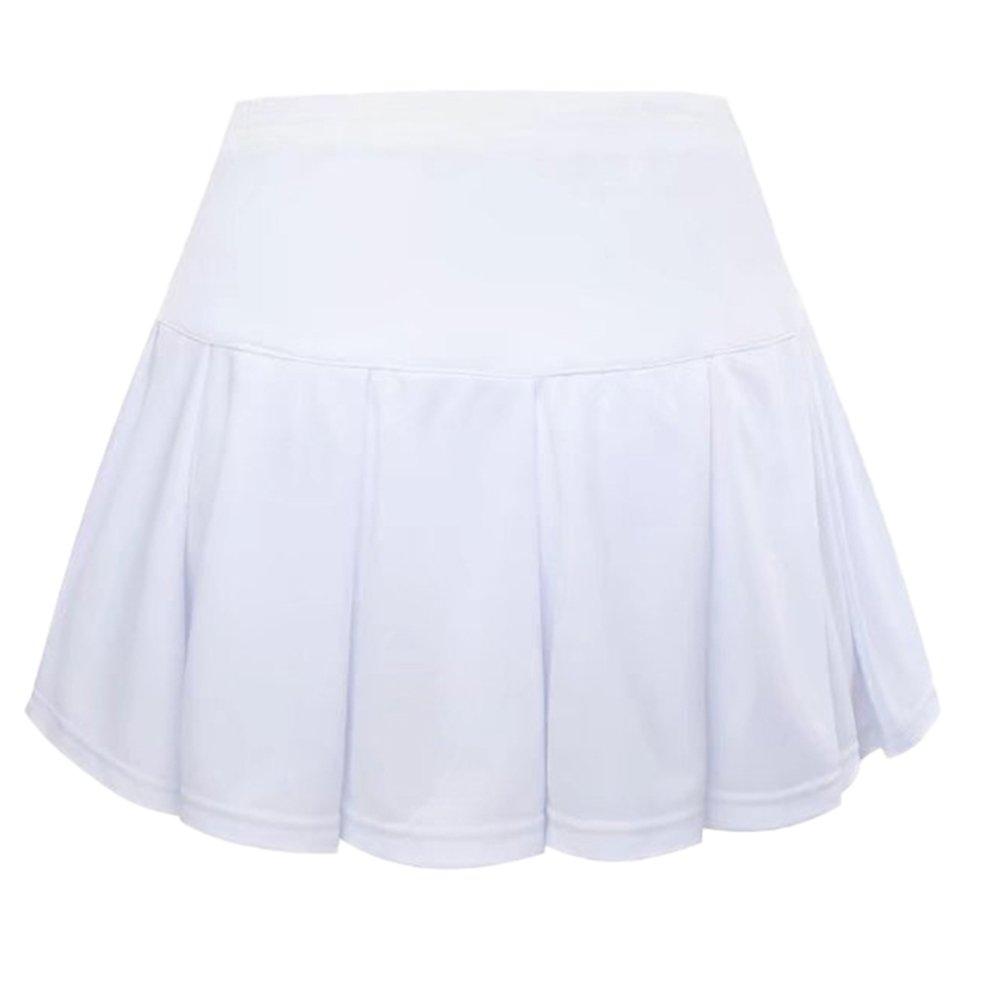 Lanbaosi Women's Athletic Gym Pleated Tennis Skirt White Mini Sports Skort SL363