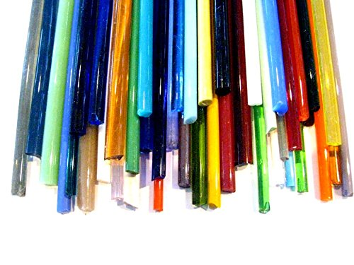 Devardi Glass COE 90 Assorted 2 lbs Glass Rods, 5-6mm, Fusing, Beadmaking Rods by Devardi Glass