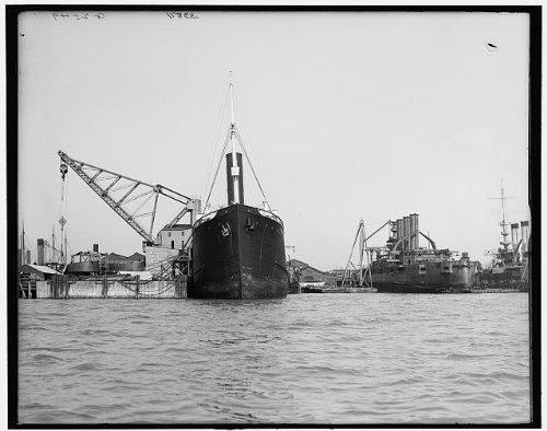 Photo  Along Slips Boat Ship Industry Newport News Virginia Detroit Publishing Co 1905