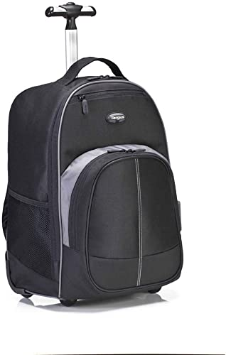 Targus Compact Rolling Backpack for Business, College Student and Travel Commuter Wheeled Bag, Durable Material, Tablet Pocket, Removable Laptop Protective Sleeve for 16-Inch Laptop, Black TSB750US