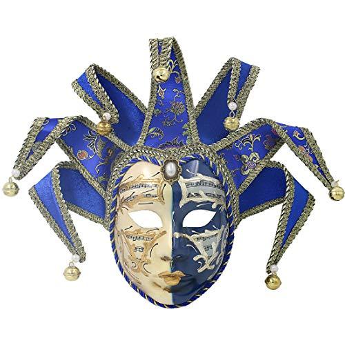 Hophen Blue Volto Resin Music Venetian Jester Mask Full Face Masquerade Bell Joker Wall Decorative Art Collection