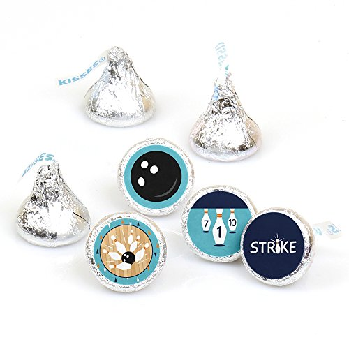 Photo Pin Bowling (Strike up The Fun - Bowling - Birthday Party or Baby Shower Round Candy Sticker Favors - Labels Fit Hershey's Kisses (1 Sheet of 108))