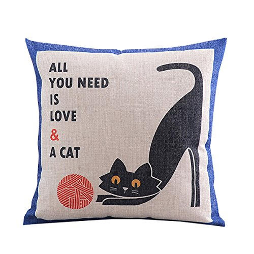 Createforlife Cotton Linen Square Decorative Throw Pillow Case Cushion Cover Creative Cartoon Black Playing Cat 18