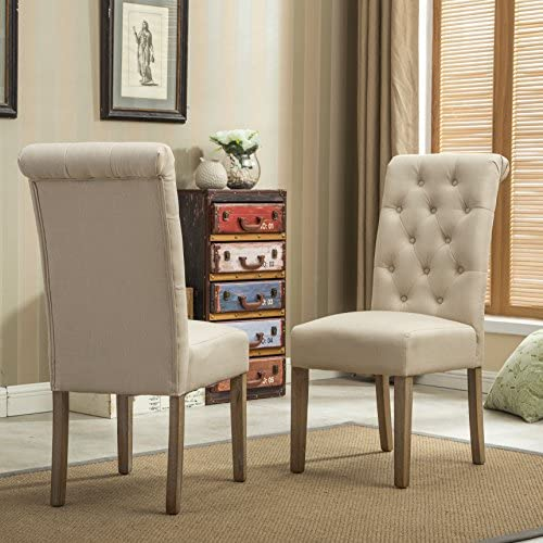 home, kitchen, furniture, kitchen, dining room furniture,  chairs 6 on sale Roundhill Furniture Habit Solid Wood Tufted Parsons Dining deals