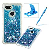 Liquid Case for Google Pixel 3 XL,Soft TPU Glitter Case for Google Pixel 3 XL,Herzzer Luxury 3D Sequins Creative Blue Love Hearts Design Floating Quicksand Clear Rubber Case